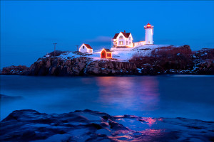 Nubble (Cape Neddick) lighthouse lit up for the holiday season.