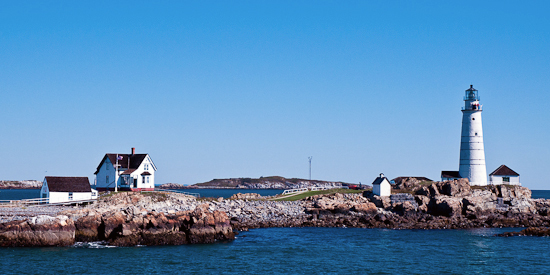 Boston Harbor Lighthouse on Little Brewster Island, Massachusetts.