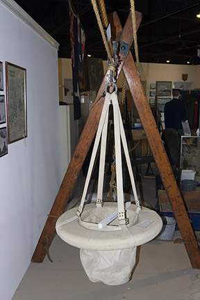 Breeches Buoy used in rescue efforts.