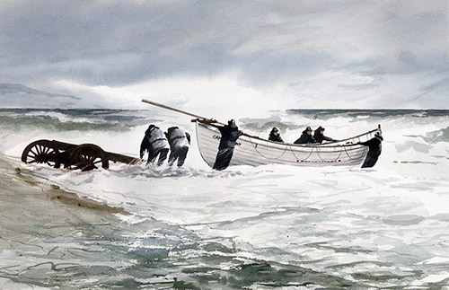 Launching a Surfboat. Painting by Sherman Groenke