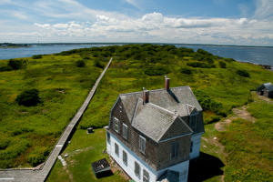 View of Wood Island keeper's building from the lighthouse tower.