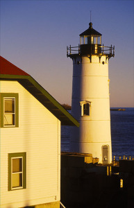 Portsmouth Harbor lighthouse at dusk.