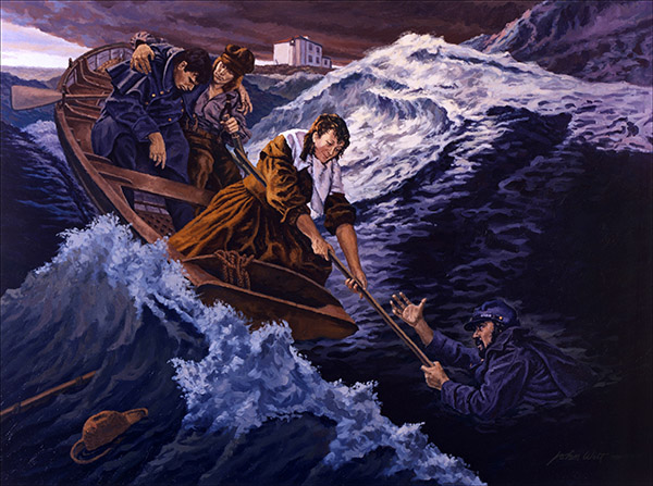 Ida Lewis rescue painting courtesy of artist John Witt.