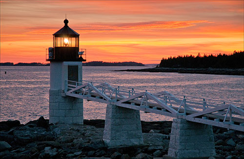 Marshall Point Lighthouse at Sunset.