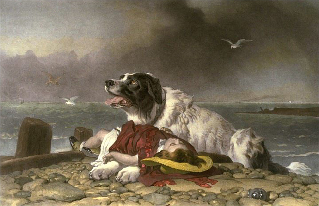 Painting of Milo the rescue dog by Sir Edwin Henry Landseer.
