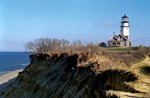Cape Cod Lighthouse before it was moved back.