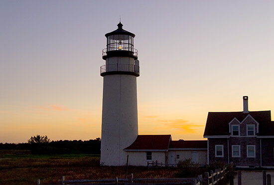 Cape Cod Lighthouse at sunset.