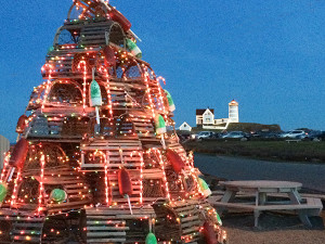 Lit Lobster Trap tree near Nubble Light