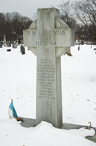 In a nearby cemetery, a monument is erected to commemorate 12 lives lost on the Bohemian.