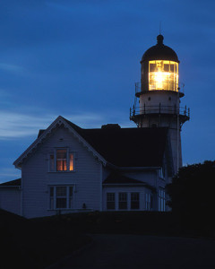 Cape Elizabeth lighthouse at night