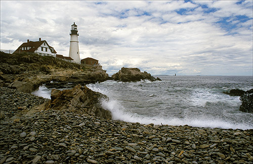 Portland Head lighthouse on a stormy day.