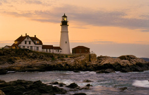 Portland Head lighthouse at sunset.