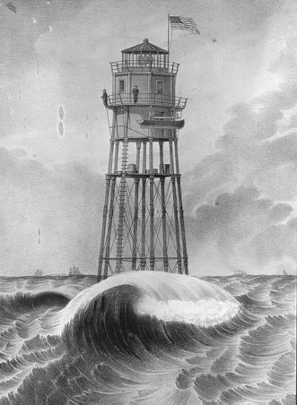 Minot's Ledge lighthouse 1850 construction.