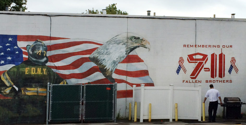 Mural at NH firehouse parking lot, honoring the fallen.