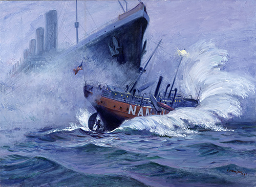 Lightship Nantucket Collision Sunk by RMS Olympic. Painting by artist Charles J. Mazoujian. Courtesy of Gwen Mazoujian and the US Coast Guard.