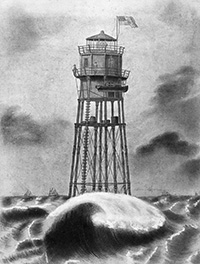 Minot's Ledge Lighthouse Early Construction