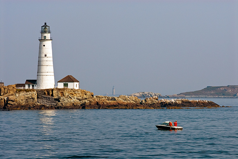 Fishing in Early Dawn at Boston Light