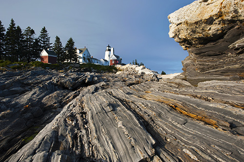 Pemaquid Point Light Above Unique Rock Formations