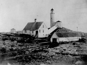 Vintage image of Isles of Shoals light. Courtesy of US Coast Guard