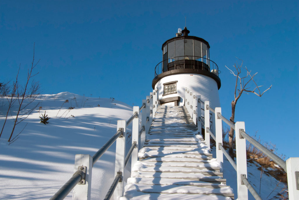 Owl's Head Light after snowfall, Owl's Head, Maine.