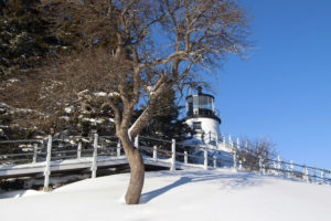 Owls Head lighthouse after snowstorm.
