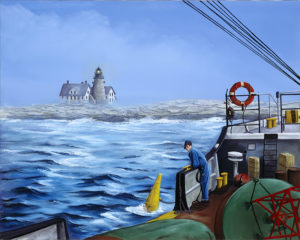 Tending the Boys at Mount Desert Rock. Painting courtesy of William Trotter and the US Coast Guard.