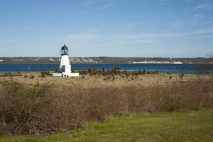 Prudence Island lighthouse lies only a few feet above sea level