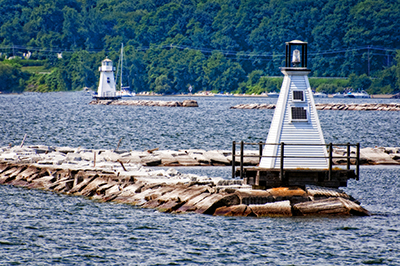 Burlington Breakwater Lights on Lake Champlain, Vermont