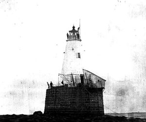 Vintage image Whaleback lighthouse built in 1847. Courtesy US Coast Guard.