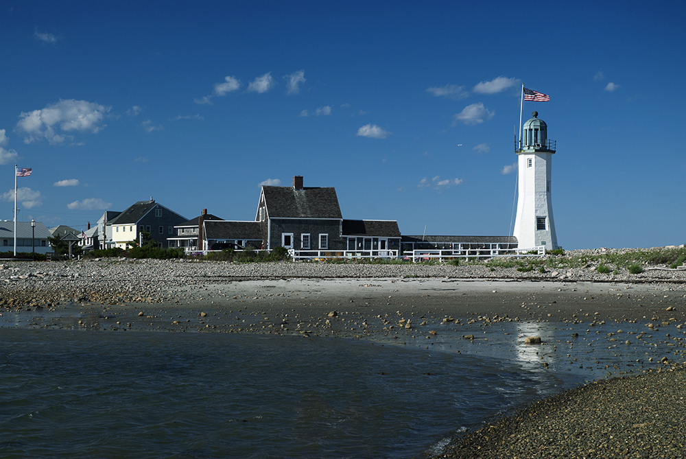 Back side of Scituate Lighthouse with beach