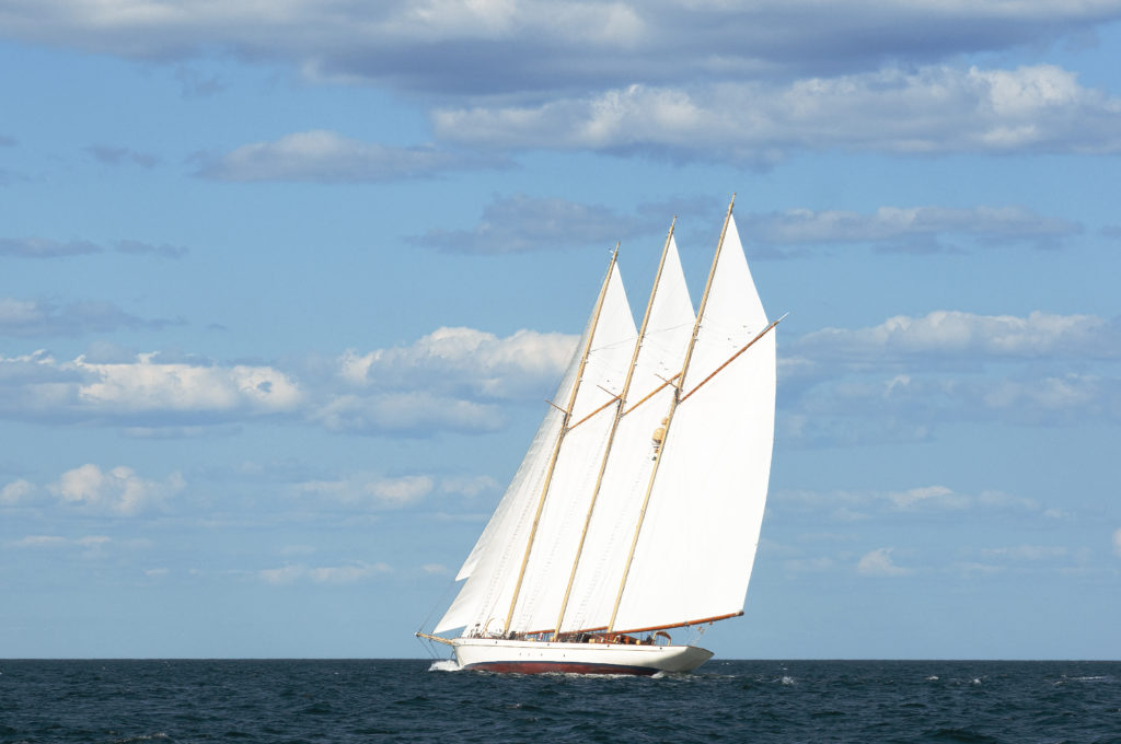 Authentic Three-Masted Schooner Windjammer Sailing on Maine Seacoast